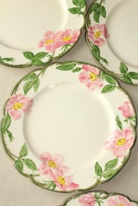 vintage-Franciscan-pottery-Desert-Rose-china-set-of-4-dinner-plates-USA-mark-Laurel-Leaf-Farm-item-no-m31320-2