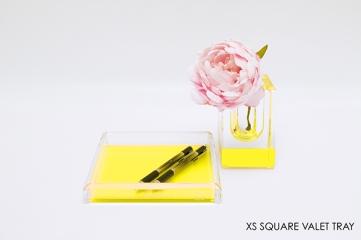AVF Acrylic Square XS Valet Tray Yellow 6x4